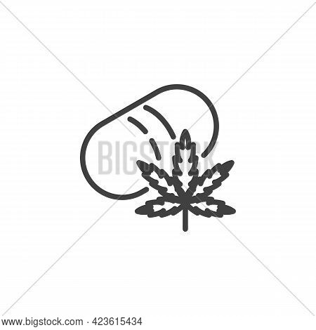 Medical Cannabis Line Icon. Linear Style Sign For Mobile Concept And Web Design. Cannabis Leaf And M