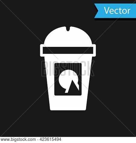 White Coffee Cup To Go Icon Isolated On Black Background. Take Away Print. Vector