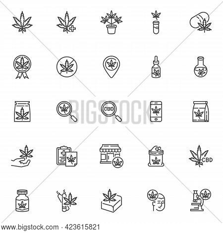 Medical Cannabis Line Icons Set. Linear Style Symbols Collection, Outline Signs Pack. Cannabis Relat