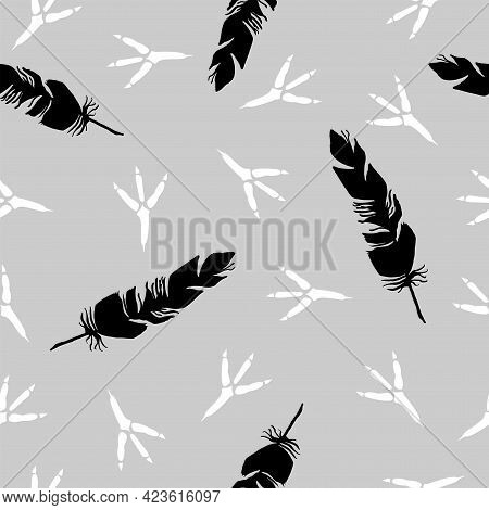 Seamless Background With Bird Feather And Bird Tracks. Bird Footprint. Black And White Background. S