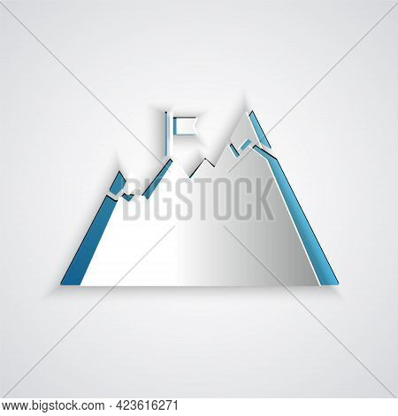 Paper Cut Mountains With Flag On Top Icon Isolated On Grey Background. Symbol Of Victory Or Success