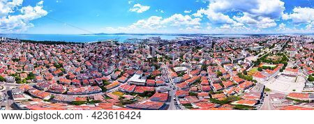 360 Degree Panoramic View Aerial View Of City Of Burgas, Burgas Bay And The Seaport, Bulgaria.