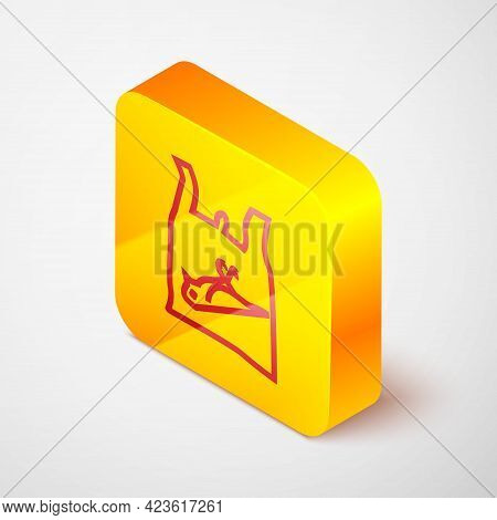 Isometric Line Dead Bird, Plastic Icon Isolated On Grey Background. Element Of Pollution Problems Si