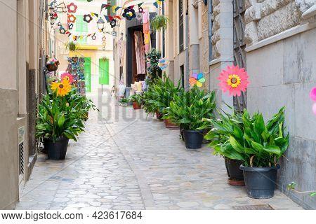 Street In Old Town Of Soller, Majorca, Spain