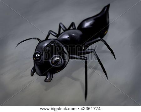 kleine schwarze Ameise digitale illustration