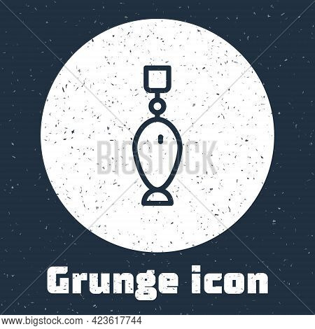 Grunge Line Fishing Spoon Icon Isolated On Grey Background. Fishing Baits In Shape Of Fish. Fishing