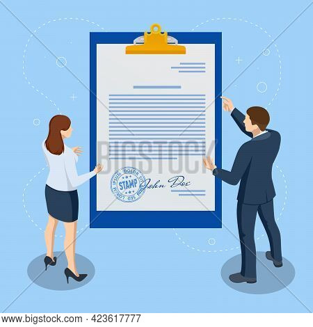 Isometric Signed A Contract With A Stamp And With A Signature. The Form Of The Document. Business Fi