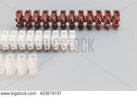 Terminal Blocks And Distribution Blocks. Connecting Electrical Cables Of Different Voltages. Connect