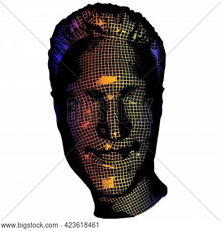 Young Man Face Portrait. 3d Greed Wireframe Head Vector Illustration