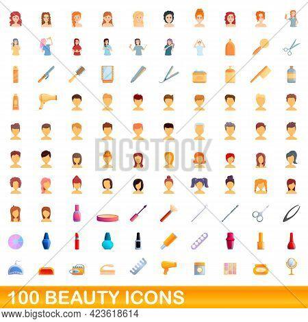 100 Beauty Icons Set. Cartoon Illustration Of 100 Beauty Icons Vector Set Isolated On White Backgrou