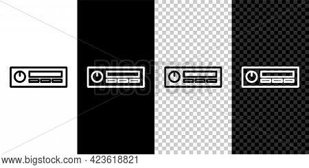 Set Line Car Audio Icon Isolated On Black And White Background. Fm Radio Car Audio Icon. Vector