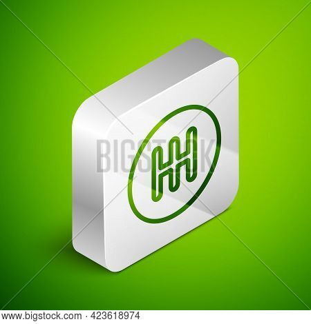 Isometric Line Gear Shifter Icon Isolated On Green Background. Transmission Icon. Silver Square Butt