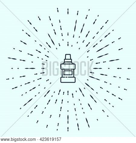 Black Line Mouthwash Plastic Bottle And Glass Icon Isolated On Grey Background. Liquid For Rinsing M