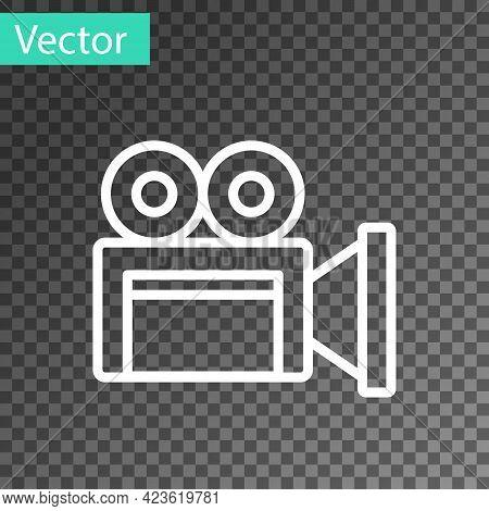 White Line Cinema Camera Icon Isolated On Transparent Background. Video Camera. Movie Sign. Film Pro