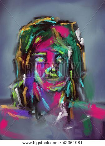 farbenfrohe Pinselstriche Gesicht digitale Malerei