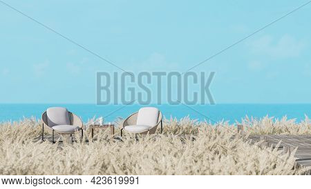 Old Wooden Terrace Surround With Meadow 3d Render,wicker Chair On The Terrace With Sea And Blue Sky