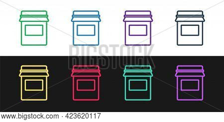 Set Line Jam Jar Icon Isolated On Black And White Background. Vector