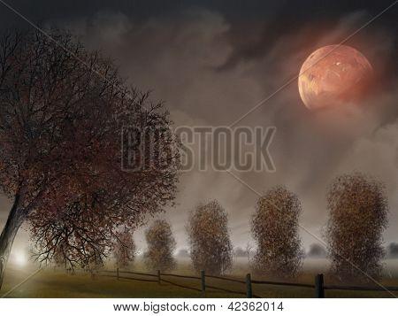 Reihe von Bäumen unter einer rosa Mond