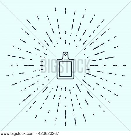 Black Line Cutting Board Icon Isolated On Grey Background. Chopping Board Symbol. Abstract Circle Ra