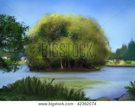 Ente Insel digitale Malerei