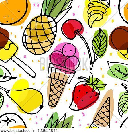 Summer Sweets Seamless Pattern. Seasonal Fruits, Berries, Ice Cream. Summer Party Food. Season Tropi