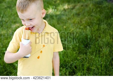 A Boy Bites A French Hot-dog And Stains His Clothes With A Ketchup Stain. In The Park. The Concept O