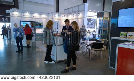 St. Petersburg, Russia - September, 2019: People, Visitors, Young Exhibitors At Expo And Forum In Bu