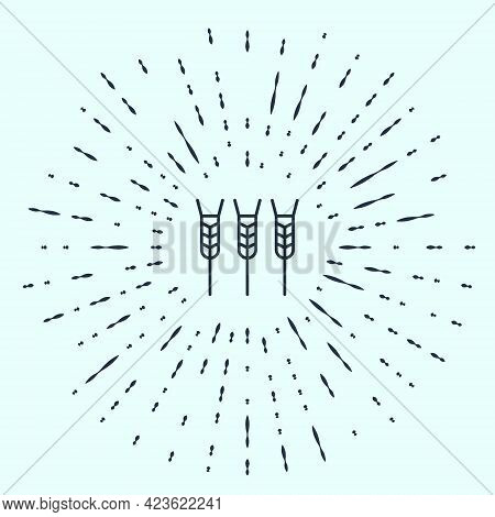 Black Line Cereals Set With Rice, Wheat, Corn, Oats, Rye, Barley Icon Isolated On Grey Background. E