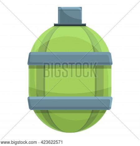 Green Flask Icon. Cartoon Of Green Flask Vector Icon For Web Design Isolated On White Background