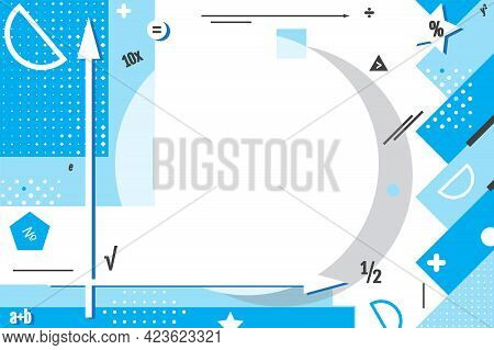 Banner For Sale Of School Supplies. Background Illustration Of Math Symbols And Formulas For Present