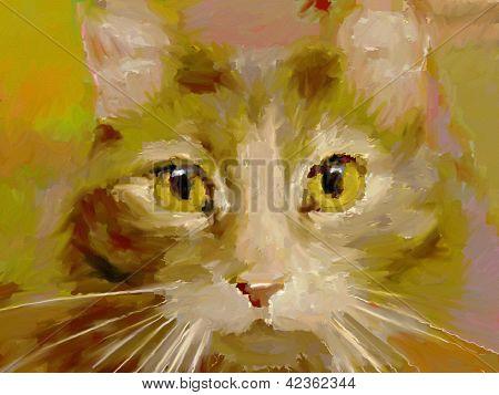 orange Katze digital Ölgemälde