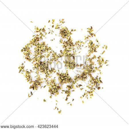 Pile Of Dried Oregano Leaves Isolated On White Background,top View