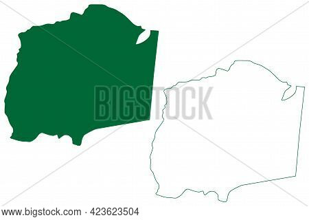 South West Garo Hills District (meghalaya State, Republic Of India) Map Vector Illustration, Scribbl