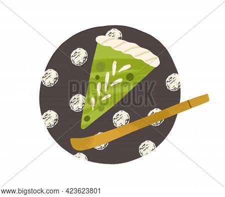 Cut Piece Of Matcha Green Tea Cake, Served On Plate. Japanese Healthy Dessert. Vegan Asian Sweet Foo