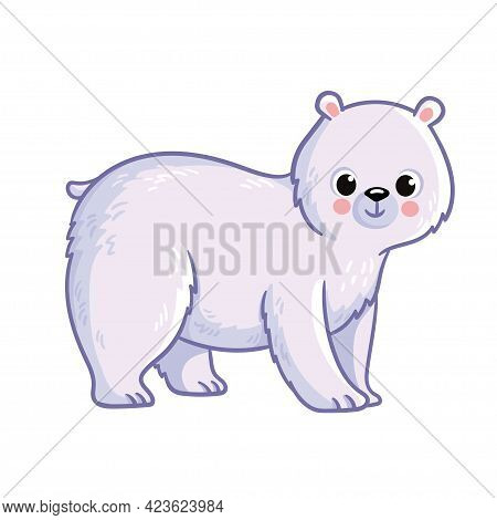 Cute Polar Bear Stands On A White Background. Vector Illustration With Northern Animals