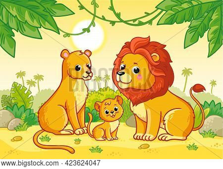 Lion Family Is Sitting In The African Savannah. Vector Illustration With Cute Animals