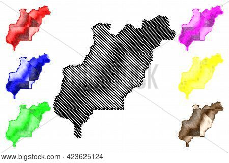Douglas County, State Of Washington (u.s. County, United States Of America, Usa, U.s., Us) Map Vecto
