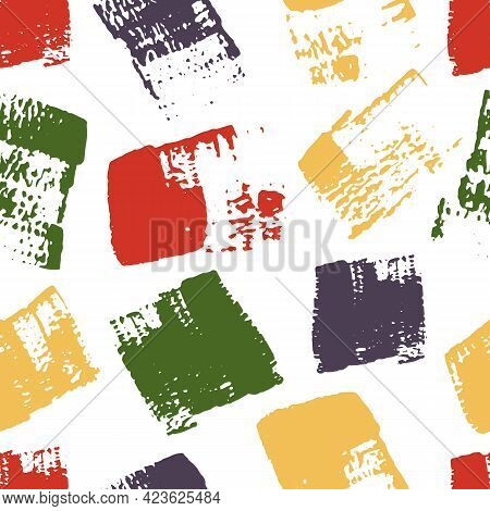 Vector Seamless Pattern With Multicolored Grungy Brush Stroke Texture On White Background For Wallpa