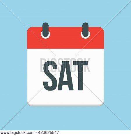 Vector Icon Page Calendar, Day Of Week Saturday