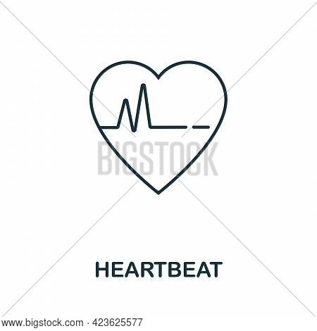 Heartbeat Line Icon. Thin Style Element From Medicine Icons Collection. Outline Heartbeat Icon