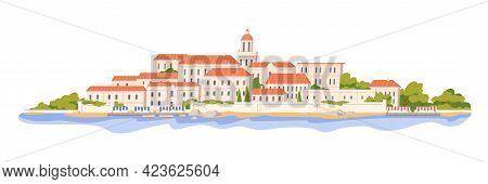 European Architecture Of Southern Coastal Town. City Buildings At Sea Coast. Cityscape Panorama With