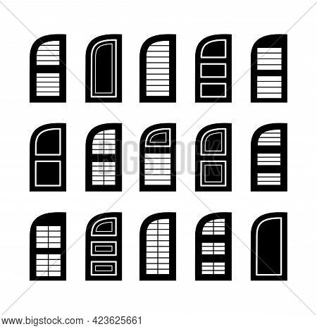 Outdoor Arc Window Wooden Shutters. Flat Icon Set. Old French Arched Window Blinds For House And Cot