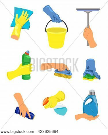 Hands With Cleaning Equipment Illustrations In Cartoon Style. Household Maintenance And Cleaning Too