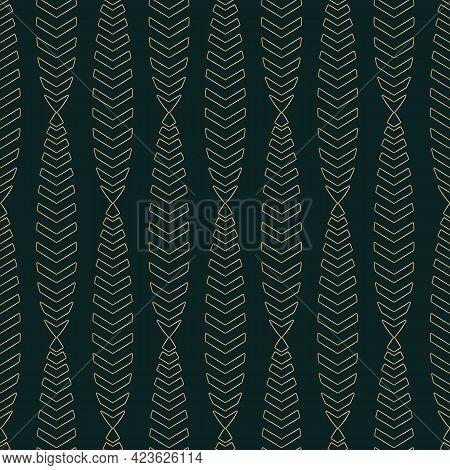 Vector Gold Cones Art Deco Dark Seamless Pattern