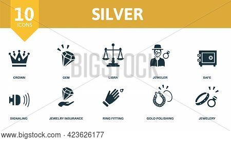 Silver Icon Set. Contains Editable Icons Jewelery Theme Such As Crown, Libra, Safe And More.