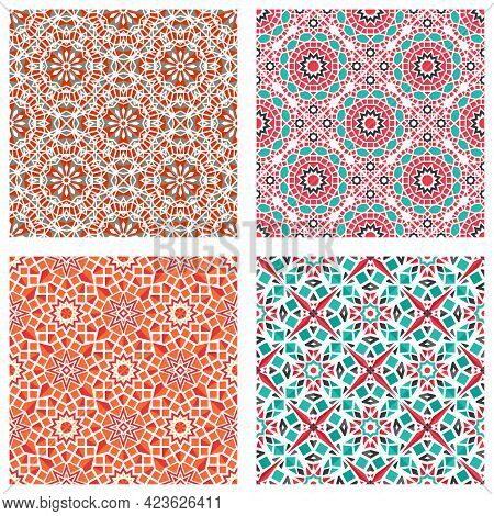 Seamless Textures With Colorful Arabic Geometric Ornament. Vector Asian Mosaic Patterns Set With Alt