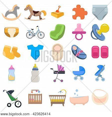 Baby Children. Family Vector Clip Art Set With Dummy Diaper Nipple