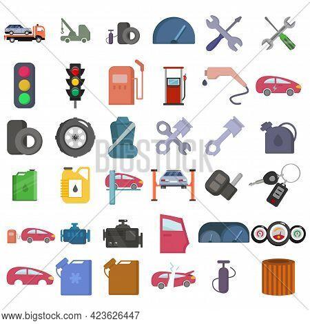 Car Service Vector Clip Art Set With Car Key, Car Lifting, Car Pistol, Car Engine, Car Oil