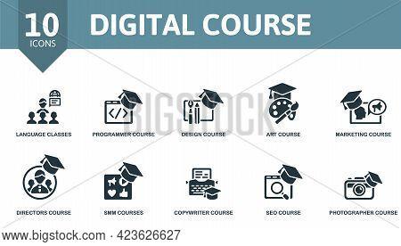 Digital Course Icon Set. Contains Editable Icons Online Course Theme Such As Language Classes, Desig