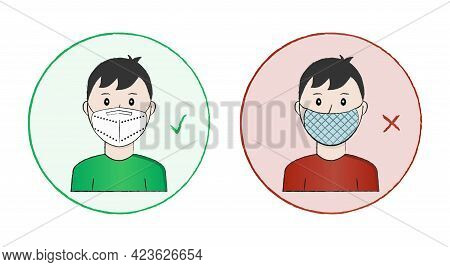 A Man Is Wearing A White Ffp2 Or N95 Non-valve Protective Mask In A Green Round Sign With A Green Ch
